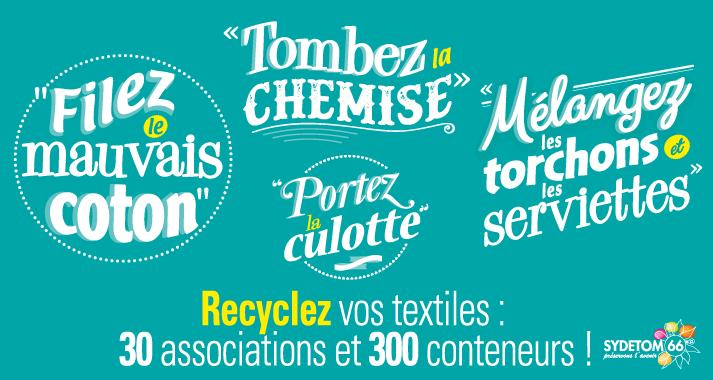 graphiste freelance concoit et illustre la campagne de communication du recyclage textile pour le Sydetom66 campagne de communication recyclage textile