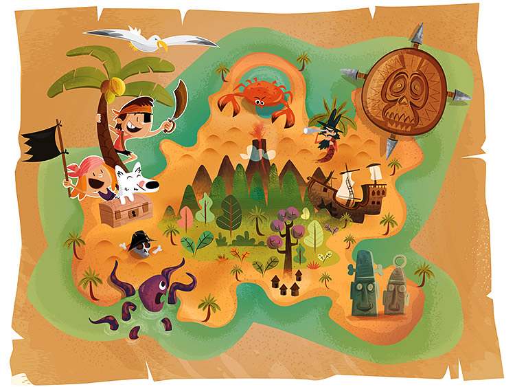 Illustration carte au trésor et pirates par Marcel Pixel