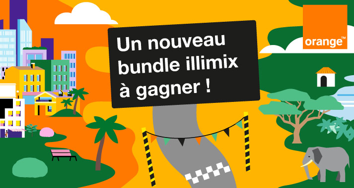 Illustration flat design des publicités canvas de facebook pour Orange par Marcel Pixel illustrateur <div srcset=