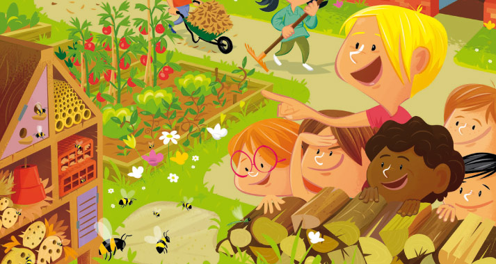 illustrations et maquette brochure communication jardinons à l'école Brochure illustrée pour enfants sur les jardins à l'école