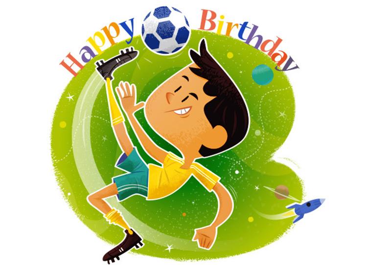 Illustrateur de mascottes pour les cartes d'anniversaire destinés aux petits sportifs d'Energykids.
