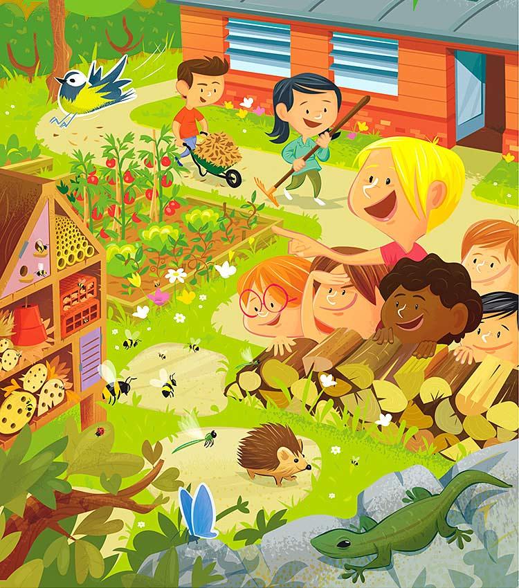"""Maquette, mise en page et illustration des guides et brochures """"jardinons à l'écoleé sur la biodiversité au jardin par Marcel Pixel, illustrateur freelance illustrateur-biodiversité-guide-pratique"""