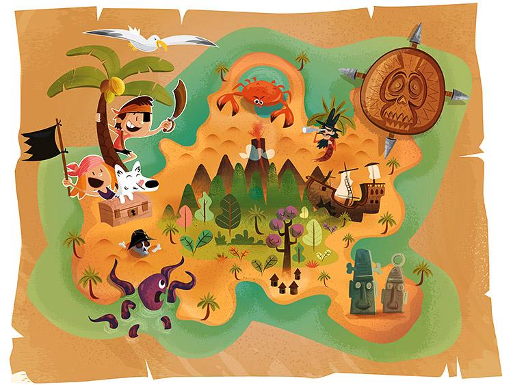 Illustration carte au trésor et pirates par Marcel Pixel