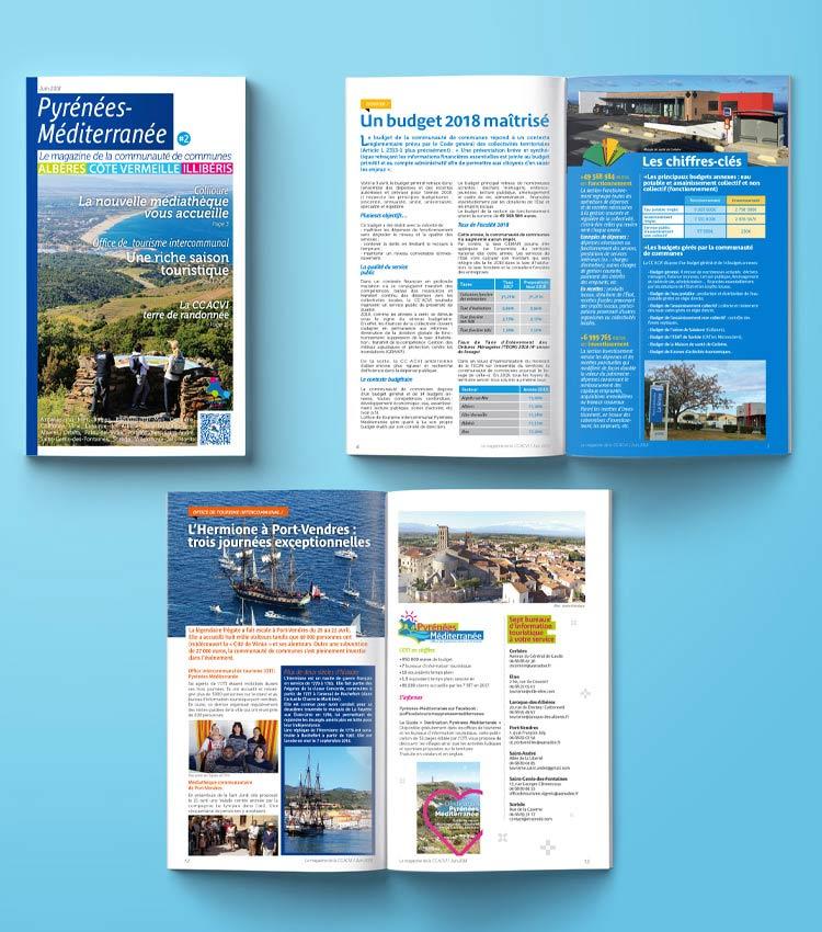 <p>Maquette et mise en page de la brochure style magazine 24 pages CCACVI réalisée par Marcel Pixel, maquettiste freelance</p> <div> <img loading=