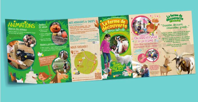 maquette et mise en page dépliant 6 volets pour parc et ferme pédagogique